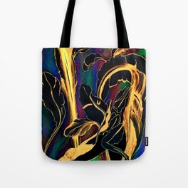 Blue Succulent Colorful Night, Black and Gold Rainbows Tote Bag
