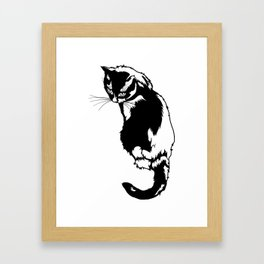 Black cat sitting back Framed Art Print