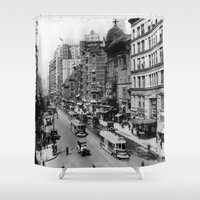 broadway Shower Curtains featuring Vintage Broadway NYC Photograph (1920) by BravuraMedia