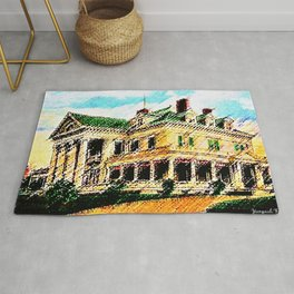 Beachmond Mansion - Newport, Rhode Island Mansion Watercolor - Jéanpaul Ferro Rug