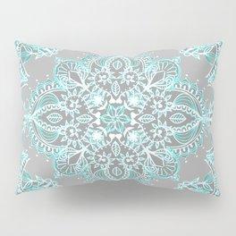 Teal and Aqua Lace Mandala on Grey Pillow Sham