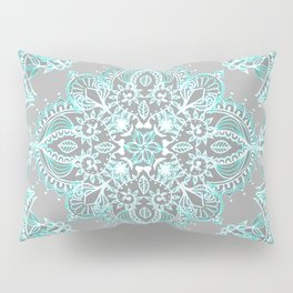 Teal and Aqua Lace Mandala on Grey Pillow Sham