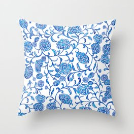 Blue Flowers on White by Fanitsa Petrou Throw Pillow