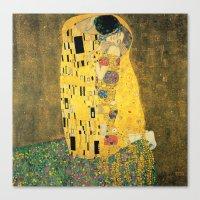 gustav klimt Canvas Prints featuring The Kiss - Gustav Klimt by BravuraMedia