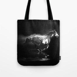 Galloping Pinto Horse Tote Bag