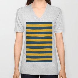Yellow & Blue Stripes Pattern Unisex V-Neck