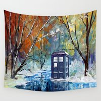 221b Wall Tapestries featuring Starry Winter blue phone box Digital Art iPhone 4 4s 5 5c 6, pillow case, mugs and tshirt by Three Second