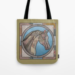 Stained Glass Map Horse Tote Bag