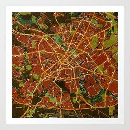 Minsk colorful map Art Print