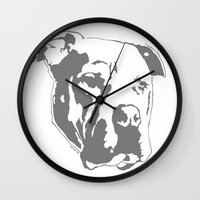 pitbull Wall Clocks featuring COACH - GREY by Kirk Scott