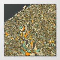 cleveland Canvas Prints featuring CLEVELAND MAP by Jazzberry Blue