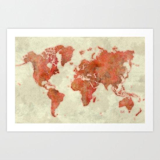 World Map Red Art Print