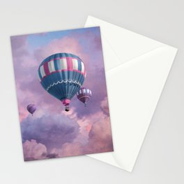 Blue, Pink, and Purple Hot Air Balloons on Pastel Clouds Stationery Cards