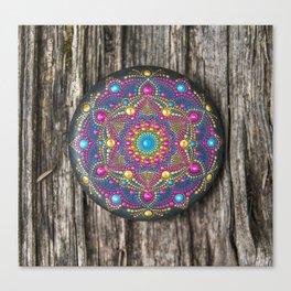 Beautiful hand painted Mandala stone on wood Canvas Print