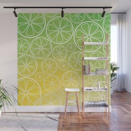 Citrus slices (green/yellow) Wall Mural
