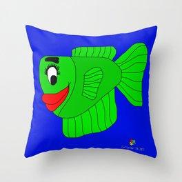 Friendly Green Fish Throw Pillow