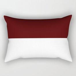 White and Bulgarian Rose Red Horizontal Halves Rectangular Pillow