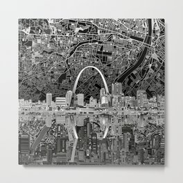 st louis city skyline map Metal Print