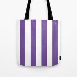 Vertical Stripes - White and Dark Lavender Violet Tote Bag