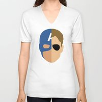 steve rogers V-neck T-shirts featuring Captain Rogers by Nick Kemp