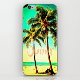 Green Yellow Vintage Palm Tree with Hawaii Summer Sea Beach iPhone Skin