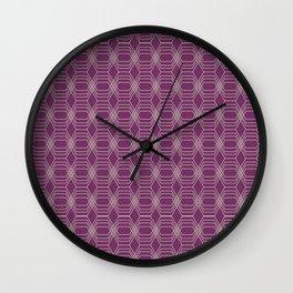 Hopscotch hex-Plum Wall Clock