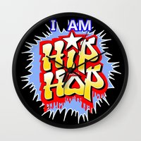 hip hop Wall Clocks featuring HIP-HOP by DaeSyne Artworks