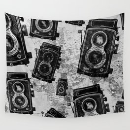 Vintage Travel Camera Pattern Wall Tapestry