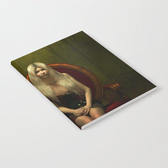 Dark wonderland Alice on a red chair Notebook