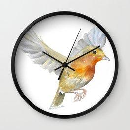 Robin in Flight Watercolor Wall Clock