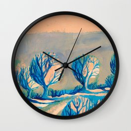 Lighted trees Wall Clock