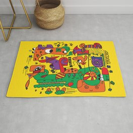 Yellow Doodle Monster World by Pablo Rodriguez (Pabzoide) Rug