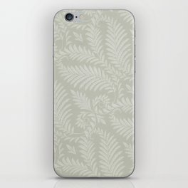 Fancy Scroll Leaves on Pale Green Background iPhone Skin