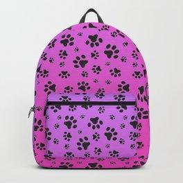 Paw Prints Pink Purple Gradient Backpack
