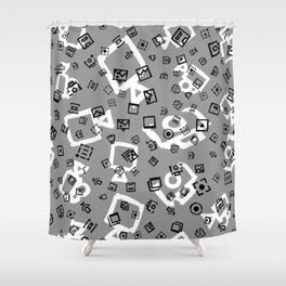 pattern with symbols of photos and videos Shower Curtain