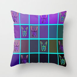 Purple & Blue, Teal Colors Butterflies in  Complimentary Geometric Colors   Throw Pillow