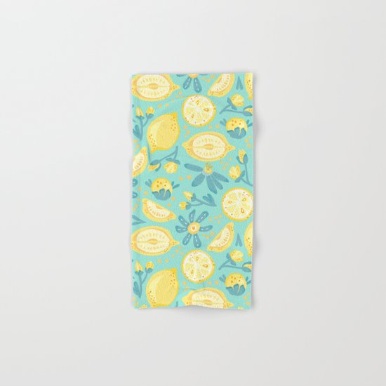 Lemon Pattern Mint Hand & Bath Towel
