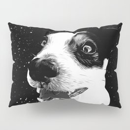jack russell terrier dog space crazy va bw Pillow Sham