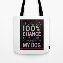 There is a 100% Chance I'd Rather be at Home with My Dog Tote Bag