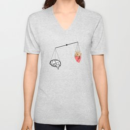 Brain vs heart Unisex V-Neck