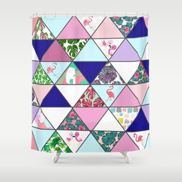 Geometrical Abstract Pink Teal Tropical Flamingo Floral Shower Curtain