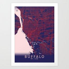 Buffalo, NY, USA, Blue, White, City, Map Art Print