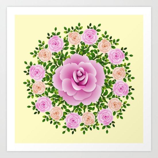Pink Roses On Yellow Design Art Print