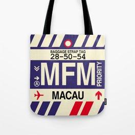 MFM Macau • Airport Code and Vintage Baggage Tag Design Tote Bag