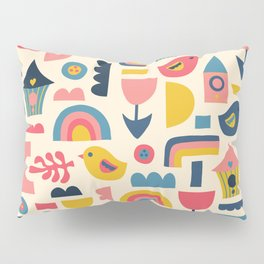 Scandinavian Birds Flowers Rainbows Kids Pattern Pillow Sham