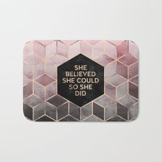She Believed She Could - Grey Pink Bath Mat