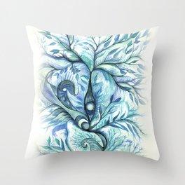 Tree of Life (blues) Throw Pillow