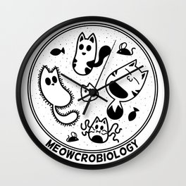 Meowcrobiology Wall Clock