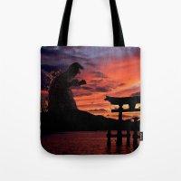 godzilla Tote Bags featuring Godzilla by Danielle Tanimura