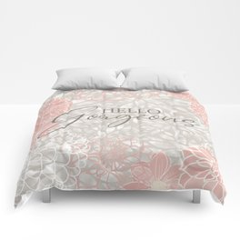 Hello Gorgeous, Floral Chic Pattern, Pink and Gray Comforters